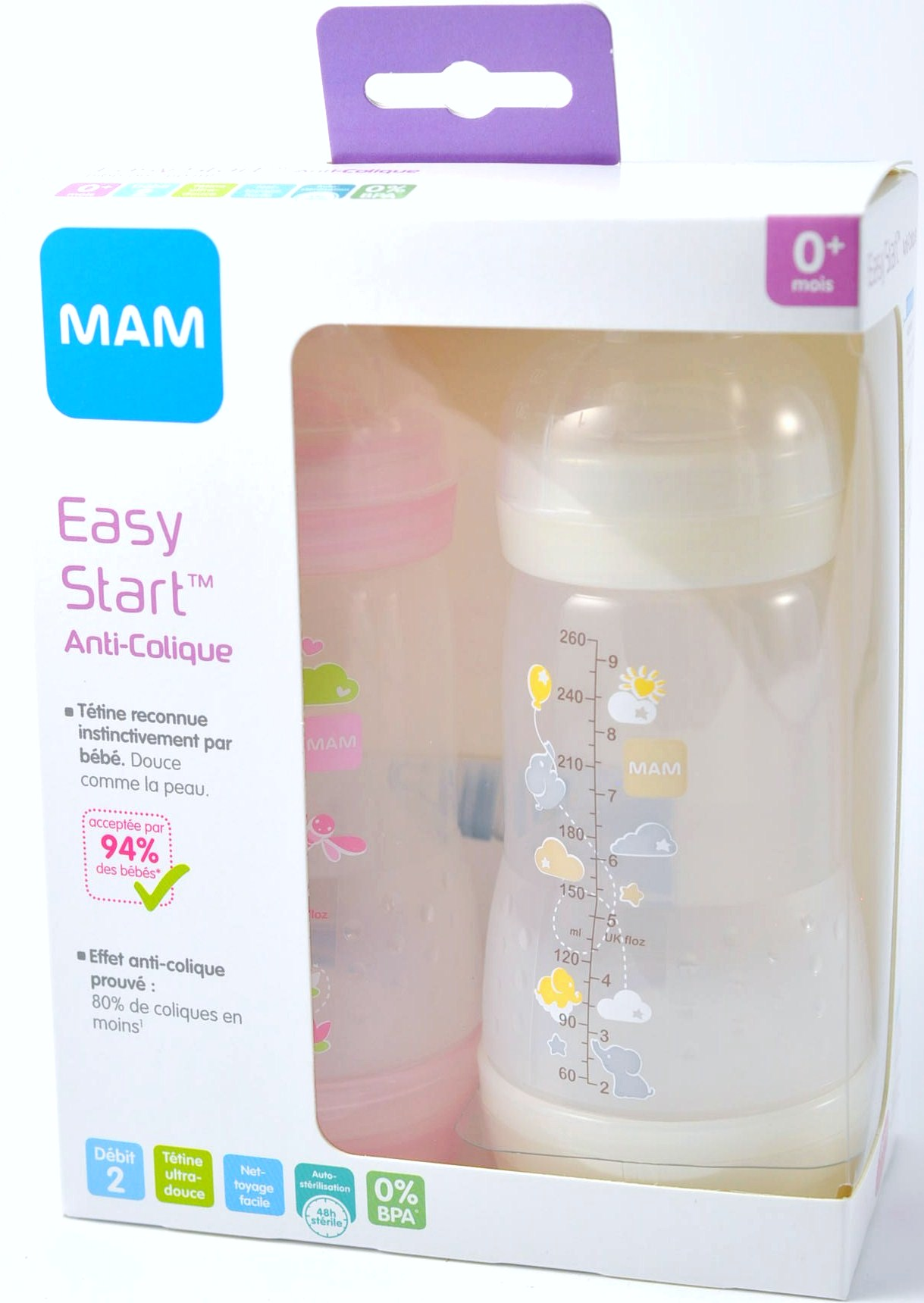 biberon mam 260 ml debit 1